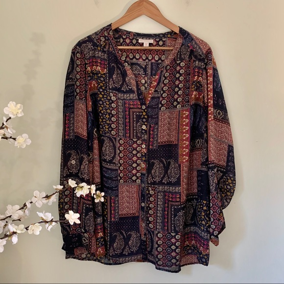 Tops - Patterned BOHO Top Size 3X